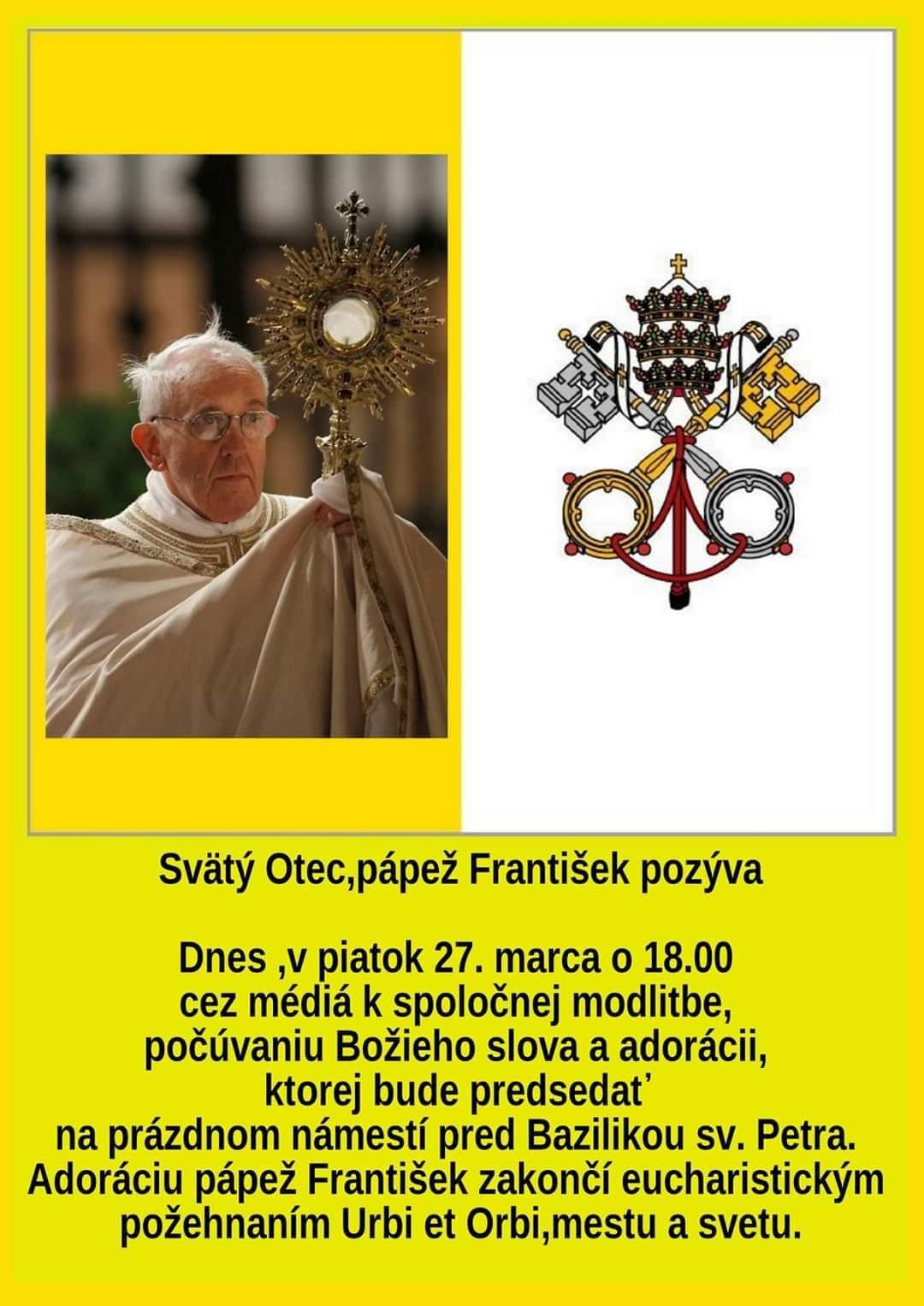modlitba s papežom - koronavírus 2020